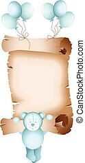 Baby boy teddy bear parchment - Scalable vectorial image...