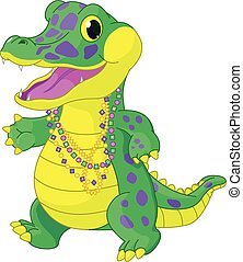 Mardi Gras Alligator - Illustration of very Mardi Gras...