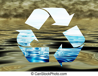 Recycling water, environmental concept, water pollution -...