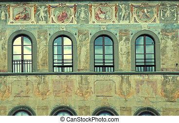 Medieval fresco of Palace of Antella on Santa Croces square,...