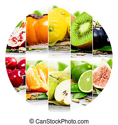 Fruit mix - Photo of colorful fruit mix with circle shape