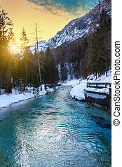 Amazing river winter in the mountains, Julia alps in...