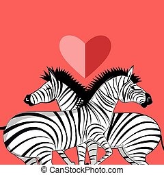 lovers of zebras - Beautiful vector graphic pattern of the...