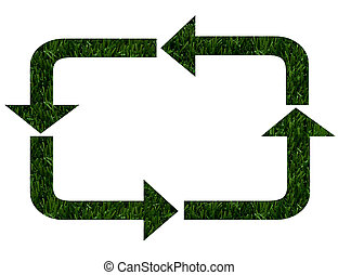 Environmentally Friendly - The recycling symbol in green...