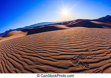The sand in Stovepipe Wells Village - Bright solar morning...