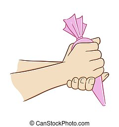 Hand Holding Cake Decoration - Hand holding bag of frosting...