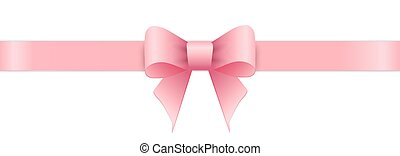 Pink bow on white background. Valentines day. Vector...