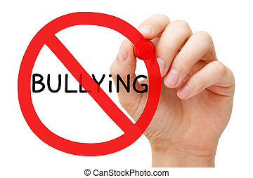 Bullying Prohibition Sign Concept - Hand drawing Bullying...
