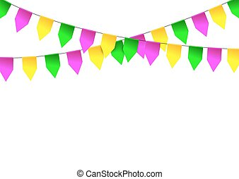 Mardi Gras party bunting flag. Vector illustration.