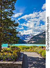 The glacial Lake Louise - The picturesque promenade on the...