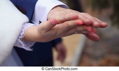 hands couple holding hands on wedding love - hands couple...