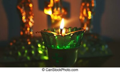 candle lamp burning in the church of Christianity - candle...