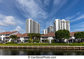 Luxury villas in the Sunny Isles Beach, located on a barrier...