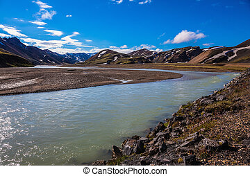 The picturesque valley in park Landmannalaugar - The...