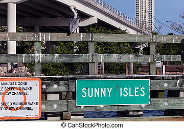 Sunny Isles Beach - The sign marks the entrance to the Sunny...