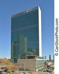 UN Headquarters Building - UN Headquarters Building against...