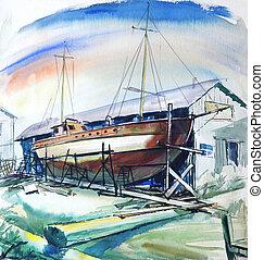 Sea colors with brown boat. - Boat at repair shop, original...