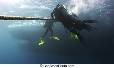 The group of divers at decompression Divers underwater...