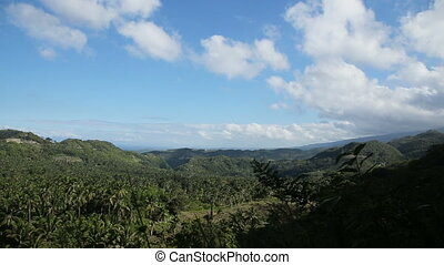 Panoramic views of jungle mountains in Philippines