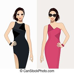 Fashion model-Fashion illustration vector