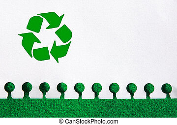 Recycling Paper - Recycle the paper, save the trees concept