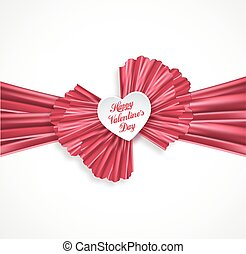 Valentine heart with pink satin ribbon, vector greeting card