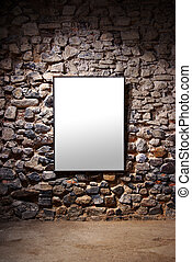 Frame Wall - Empty frame attached to a stone wall in a...