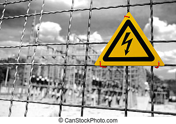 High Voltage - Electrical power plant with High Voltage sign...