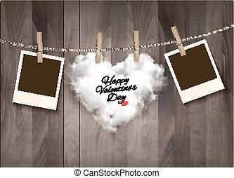 Heart shaped cloud on rope and photos. Valentine's day background. Vector