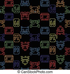 Computer game graphic seamless pattern on a black background...
