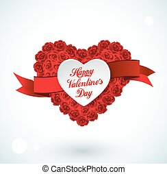 Valentine heart made of roses, vector greeting card