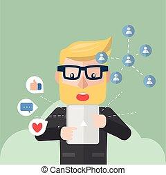Businessman online notification
