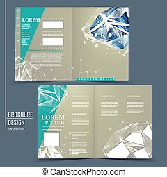 half-fold brochure template with diamond element - modern...