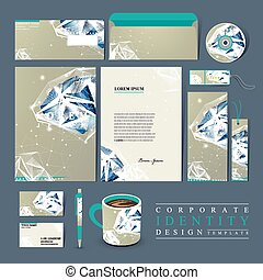 corporate identity set with diamond element - modern design...