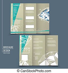 tri-fold brochure template with diamond element - modern...