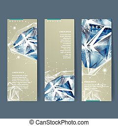 banners set with diamond element - modern design for banners...