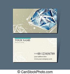 business card with diamond element - modern design for...