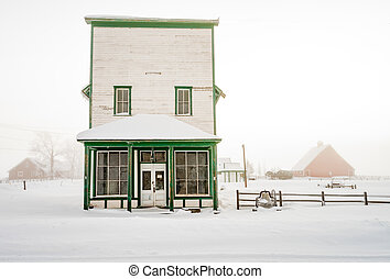 Farm barns and winter snow with country store - Country...