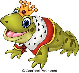 Cute frog king isolated - Vector illustration of Cute frog...