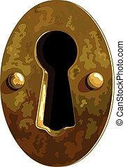 Keyhole - Illustration of antique bronze keyhole