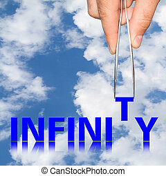 Hand with tweezers and word infinity concept, isolated on...