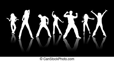 Youth - White silhouettes, youth on a black background