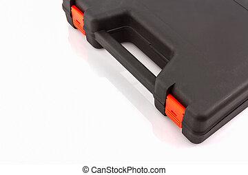 Black tool box, plastic case.
