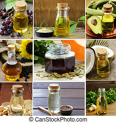 collage of natural organic oils from nuts and seeds,...
