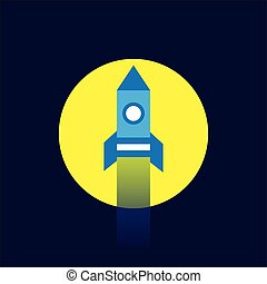 rocket flying to the moon icon flat style