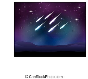 Vector meteor shower Space background with stars