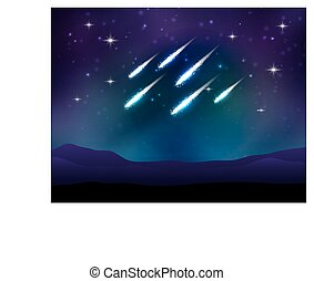 Vector meteor shower. Space background with stars.
