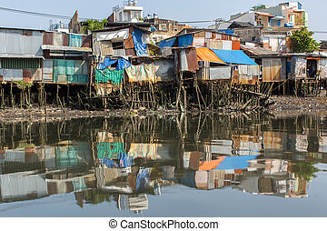 Slums in Ho Chi Minh city. Vietnam.