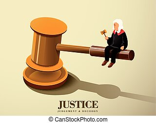 justice concept with a judge sitting on a gavel in flat 3d...
