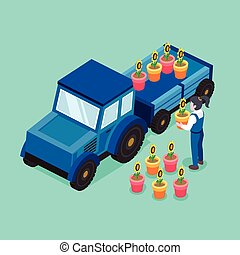flower transportation concept in flat 3d isometric graphic